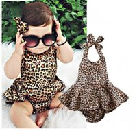 Wholesale 24 month christmas outfit - Newborn kids baby girls leopard bodysuits toddler baby girl clothes bodysuit jumpsuit playsuit outfits 0-24 months