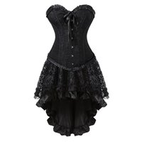 ingrosso abiti cosplay lolita-Sexy corsetto nero vintage vestito corsetti Burlesque vittoriano Set gonna costume di Halloween Costume da ballo danzante Plus Size S-6XL