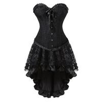 traje de vestido preto sexy espartilho venda por atacado-Sexy Vintage Espartilho Preto Vestido Espartilhos Burlesque Saia Saia Set Festa de Halloween Cosplay Dançando Traje Plus Size S-6XL