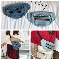 Wholesale chest box storage - Women Demin fanny Waist bag piain Casual chest bag Fashion Girls Purse Bags 2Styles Storage Bags FFA332 5pcs Outdoor Bags