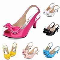 Wholesale womens shoes size 14 - Women Sandals 2015 Summer Shoes Woman Sandals Peep Toe Big Bow Ladies Heel Sandals 14 34 46 Large Size Womens Shoes Black Blue