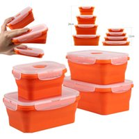 Wholesale freezer boxes food storage resale online - Folding Silicone Lunch Boxes Food Storage Containers Bowl With Lids Microwave Refrigerator Fresh Freezer Box ML ML ML HH7