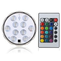 Wholesale aquarium power - 10-LED RGB Waterproof Battery Powered Lights with IR Remote Controller for Aquarium Vase Base Pond Swimming Pool Garden Party Weeding