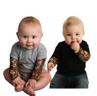 Wholesale Baby Clothes INS Tattoo Toddler Rompers Boys Long Sleeve Printed Onesies Boys Cotton Summer Bodysuits Fashion Jumpsuits Kids Clothing B11