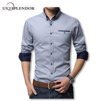 Wholesale modern men shirts - 2018 New Spring Cotton Shirts Men High Quality Long Sleeve Slim Fit Shirt Pure Color Modern Casual Camisa Big Size 5xl Yn270