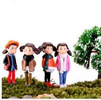 ingrosso ornamenti diy crafts-4 / 6pcs Casa fai da te Figurine in miniatura Xiaomei Girls Micro Landscape Decor Mini Fairy Garden Ornament Varie Set Resina Craft