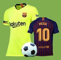 jerseys de fútbol 14 al por mayor-2018 Barcelona MESSI # 10 camisetas de fútbol 18 19 NUEVA Barcelona A.INIESTA # 8 Suárez # 9 DEMBELE # 11 COUTINHO # 14 Camisetas de fútbol