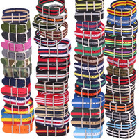 kumaş saat kayışları toptan satış-10 adet Toptan Lot Şerit Retro 22mm Güçlü Dokuma Ordu nato kumaş Naylon Saat Kayışı Band Toka 22mm watchband