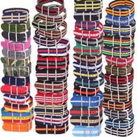 pulseiras de nylon pulseiras de relógio 22mm venda por atacado-10 pcs Lote Listra Por Atacado Retro 22mm Tecido Forte exército tecido Nato Nylon Watch Strap Banda Fivela 22mm watchband