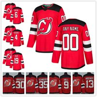 Wholesale elias jersey - Custom New Jersey Devils Stitched Any Number Name 9 Hall Hischier Brodeur Elias 2018 Red Home NEW Brand Hockey Jerseys size S-XXXL