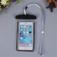 iphone yağmurunu örtün toptan satış-Şeffaf Glow Su Geçirmez Kılıfı Kordon Ile Su Torbası Yüzme Yağmurlama Durumda iphone Samsung Akıllı Telefon Kadar 5.8 inç Kılıf