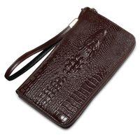 inek deri çanta deseni toptan satış-Erkekler Marka Tasarım Iş Vintage Uzun Cüzdan Hakiki Inek Deri Timsah Desen Tarzı Erkek Çanta Casual Debriyaj El Çantaları