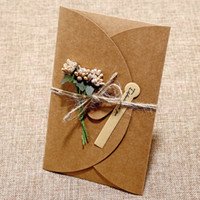 Wholesale post cards resale online - Creative retro kraft paper hand dried flower greeting card personalized DIY blessing greeting card holiday universal greeting card