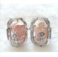 ingrosso grandi orecchini di conchiglia-vera naturale grande 16 MM BIANCO GOCCIA PERLA D'ACQUA DOLCE ORECCHINI ROU ORO GIALLO MARINA MERAVIGLIERA PERLA PERLA ORECCHINO reale Fancy lady's 925 Orecchini in argento