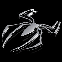 Wholesale Spider Car Decals - Car-Styling 3D Car Stickers Universal Metal Spider Shape Emblem Chrome 3D Car Truck Motor Decal Sticker DIY Car Styling