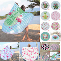 Wholesale family prints - 11 Colors 150*150cm Round Flamingo Print Beach Towel Polyester Tassel Outdoor Picnic Pads Blanket Swimming Bath Towels Shawl Yoga Mat AAA488