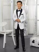 casaco de meninos venda por atacado-Personalizado Branco Meninos Ternos Crianças Ternos 2018 Wedding Prom Set 2 Peças (Jacket + Calças) Formal Wear para Crianças