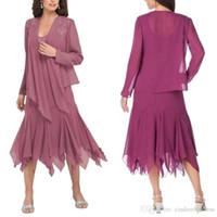 uzun resmi akşam kaplaması toptan satış-Yeni Şifon anne Gelin Takım Elbise Uzun Kollu Ceket Dantel Aplike Çay Boyu Düğün Konuk Elbise Örgün Akşam elbise BA9175
