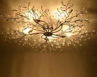 araña de cristal de plata moderna al por mayor-Big Silver Iron K9 Crystal Chandelier Fixture Moderno Rama de árbol nórdico LED Lámpara de techo colgante Lustre Iluminación para sala de estar LLFA