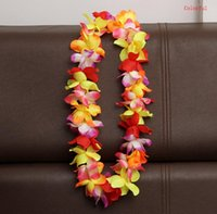 Wholesale leis flowers resale online - 100cm Flower Hawaiian Beach Party Hula Garland Leis Necklace Lei Birthday Party Supplies Wedding Favors SN964