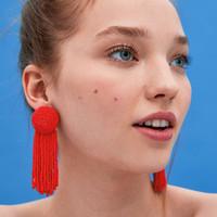 Wholesale weave earrings - tassel drop Earrings for women 2018 Luxury boho personality Millet beads Woven Dangle earrings Vintage geometric Jewelry wholesale 5color