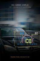 "Vehicle universal 5.8"" OBD2 head up display multifunction car dashboard digital HUD fuel consumption speed rotation voltage water temp alarm"