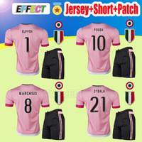 Wholesale Sand Sets - 2015 Old Pink DYBALA Soccer Jerseys Kits 15 16 Away CHIELLINI POGBA MARCHISIO Pirlo Higuain Alex Sand Adult Sets Football Shirts JUV Uniform