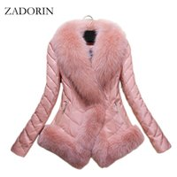 ingrosso giacca di lusso di pelliccia giù donne-Nuovo Autunno Inverno Donna Faux Fur Coat Pelle di lusso Giù Cappotto Ricamo Breve giacca di pelle nera manteau fourrure femme