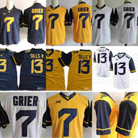 malhas de faca costuradas venda por atacado-WVU West Virginia Alpinistas # 7 Will Grier 13 David Sills V Limitada XII NCAA Camisolas de Futebol Da Faculdade Costurado S-3XL