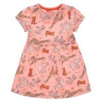 vestidos de moda coreana para niños al por mayor-Everweekend Girls Animal Print Ruffles Vestido de algodón Cute Baby Pink Color Ropa Lovely Kids Korean Fashion Summer Holiday Dress