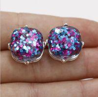 Wholesale rainbow silver crystal earrings - Hot Sale Kate Style faux Opal Glitter Studs silver Rainbow Square Glitter Stud Earrings Women Fashion Jewelry Opal Spade Earrings
