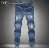 Wholesale mens new stylish jeans - Wholesale-2015 New mens Stylish ripped Jogger Jeans Skinny biker jeans perfumes original Plus size S M L XXL XXXL 4XL 5XL elastic jeans