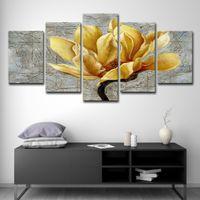 panneau d'art mural d'or achat en gros de-5PCS Panneau Photos Toile Peinture Orchidée fleur d'or Peinture murale Art décoratif Toile Wall Art Image modulaire
