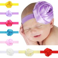 Wholesale satin flower headbands - 2016 New Childrens Elastic Hair Accessories Flower Newborn Baby Satin Rose Headbands Kids Baby Hairbands Girls Princess Headwear KHA183