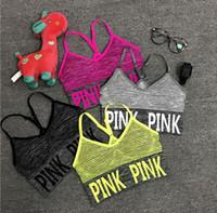 kırpma sutyen üstleri toptan satış-Seksi Kadınlar Yoga Vest Shakeproof Spor Bras yastıklı Harf Yoga Bra Tops Dikişsiz Spor İç Giyim Lady Mahsul Tops Koşu