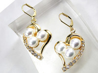 Discount shell shaped earrings - Latest Round Shell Pearl With Heart-shape Stud Earring ER00058 8mm