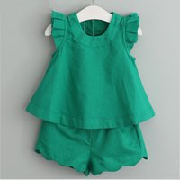 Wholesale whosale brand clothes resale online - 2018 whosale children clothes sets baby girl fly sleeve top with matching shorts sets kids cotton clothing suits