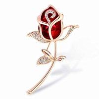 kristall roségold brosche großhandel-Kristall Rose Blume Brosche Strass Legierung Rose Gold Broschen Geburtstagsgeschenk Kleidungsstück Zubehör