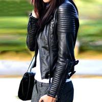 ingrosso giacca gialla delle signore-2018 nuove donne di arrivo autunno inverno morbido nero faux giacche in pelle signora moto pu biker cappotti tuta sportiva rosso giallo