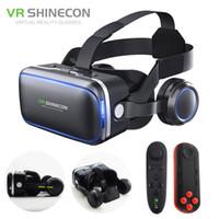 óculos 3d encaixotados venda por atacado-Fone de Ouvido VR Shinecon 6.0 Pro Stereo CAIXA Realidade Virtual Smartphone Óculos 3D Google VR Fone de Ouvido com Controlador para Android