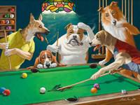 ingrosso arredamento piscina-Alta qualità dipinta a mano HD Stampa su tela Astratta arte animale Pittura ad olio Sarnoff, biliardo cane su tela Home Decor Multi formati pa07