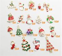 Wholesale decor charms resale online - 19 set NewYear Fashion Metal Alloy Christmas Charm Decor Set Xmas Pendant Drop Ornaments Hanging Christmas Decoration