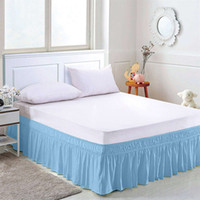 Wholesale full size blue bedding for sale - Polyester Solid Color Elastic Bed Skirt Without Bed Surface Five Sizes Apron Bedspread Lace Bed Skirt