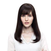 uzun saçlı kısa peruk toptan satış-Tam Dantel Peruk uzun Kısa İnsan Saç 100% Bob Peruk Siyah Beyaz Kadınlar Için 150 Yoğunluk Remy Saç Brezilyalı Düz Saç Doğal Renk # 2 peruk