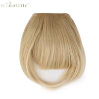 ingrosso hair only-SNOILITE Women Synthetic Clip In Bangs Estensioni dei capelli con frangia Anteriore su Brown Black Blonde Solo un pezzo