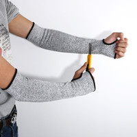 kolları kes toptan satış-YENI Gri Güvenlik Cut Isıya Dayanıklı Kollu Kol Koruma Koruma Kol Bandı Eldiven Işyeri Güvenliği Koruma Bir Çift