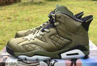 армия зеленый спортивные туфли для мужчин оптовых-Высокое качество 6 летная куртка Pinnacle Субботняя ночь Live Army Green Баскетбол обувь Мужчины 6 s нейлон Army Green Кроссовки с коробкой