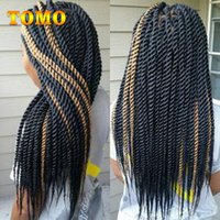 Wholesale black grey synthetic braiding hair resale online - TOMO Crochet Braids Senegalese Twist Synthetic Hair Bluk Pure Ombre Grey Brown Pre Crochet Braiding Hair Extensions For Black Roots Pack
