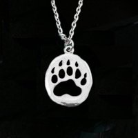 Wholesale Paw Print Pendants Wholesale - 12pcs lot Paw Print Necklace Animal Hunting Gift Bear Claw Pendant Native American Jewelry Bear Necklace Gift for Hunter