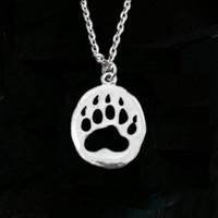ingrosso regali americani-12pcs / lot zampa stampa collana animale caccia regalo orso artiglio ciondolo nativi americani gioielli orso collana regalo per cacciatore